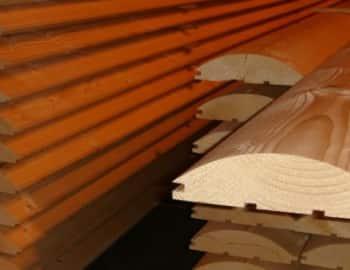 Поперечное сечение блок-хауса из лиственницы